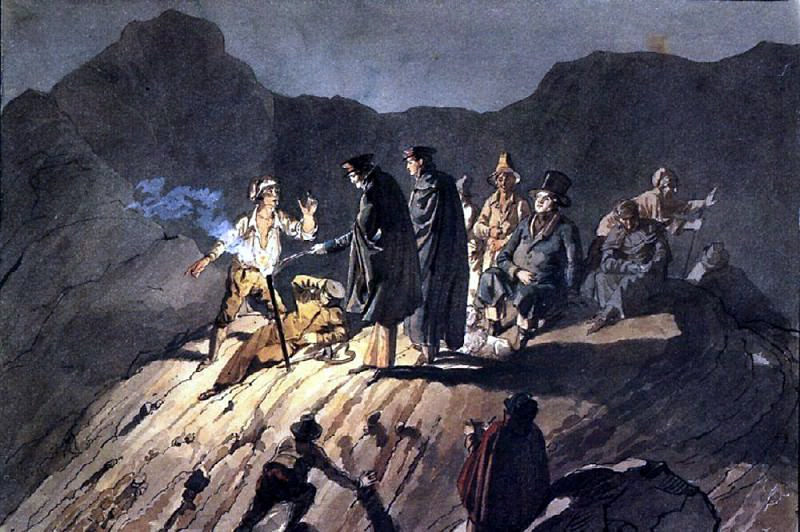 Members of the expedition to Mount Vesuvius. 1824, Karl Pavlovich Bryullov