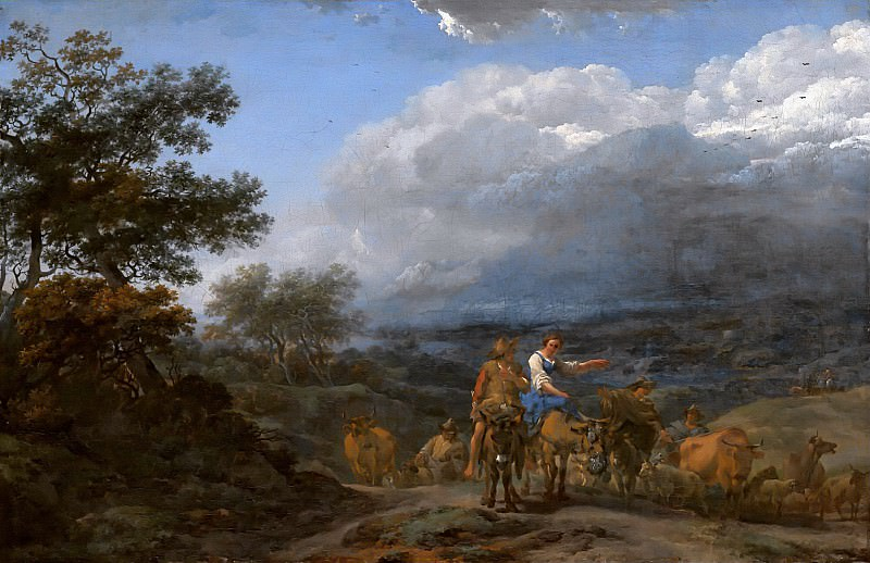 A Hilly Landscape With Herdsmen And Cattle, Nicolaes (Claes Pietersz.) Berchem