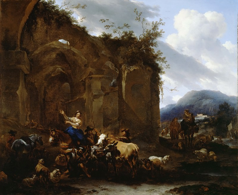 A Farrier and Peasants near Roman Ruins, Nicolaes (Claes Pietersz.) Berchem
