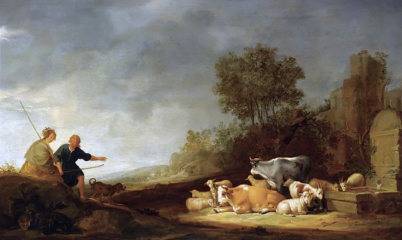 Landscape With A Shepherd And A Shepherdess Resting With Their Cattle By A Watering Place, Nicolaes (Claes Pietersz.) Berchem