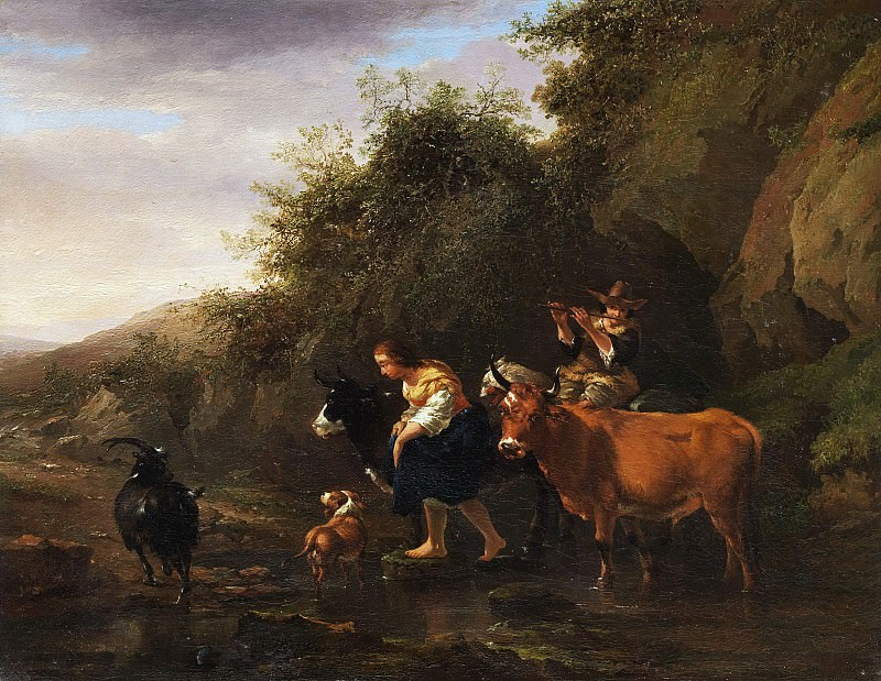 Farmers crossing a stream, Nicolaes (Claes Pietersz.) Berchem
