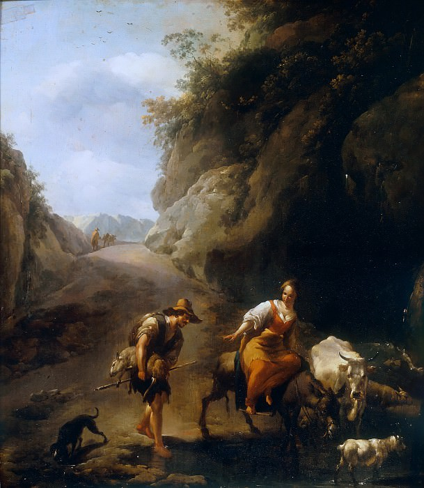 A Rocky Italianate Landscape with a Woman on a Donkey and a Shepherd, Nicolaes (Claes Pietersz.) Berchem