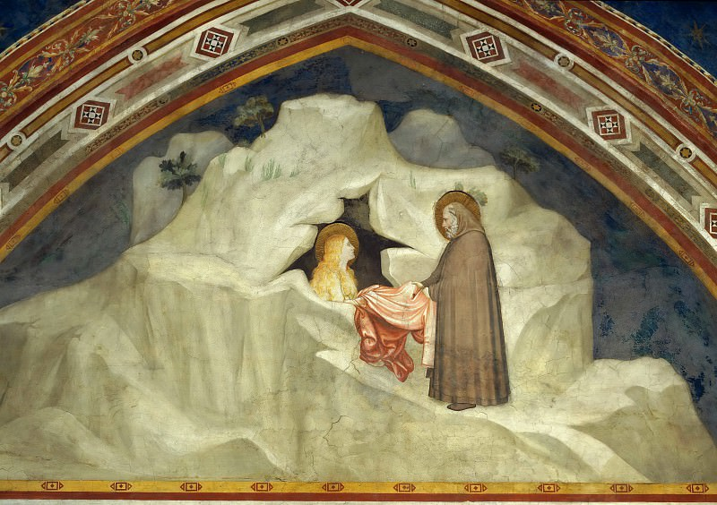 Scenes from the Life of Mary Magdalen: The Hermit Zosimus Giving a Cloak to Magdalen, Giotto di Bondone