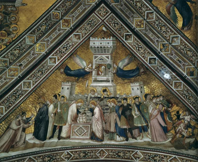 Frescoes in the crossing vault - Allegory of Chastity, Giotto di Bondone