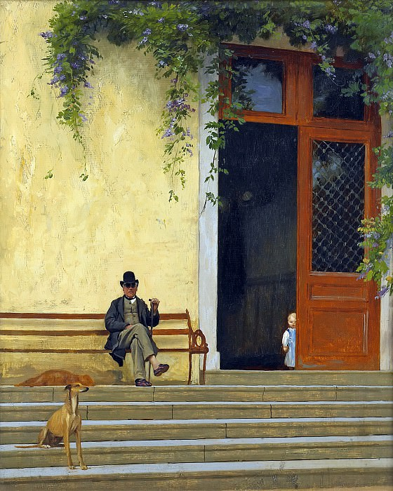The artist s father in front of the house, Jean-Léon Gérôme