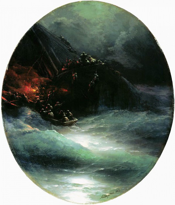Death of a ship. The collapse of the merchant vessel on the high seas in 1883 83,5 h75, 5, Ivan Konstantinovich Aivazovsky