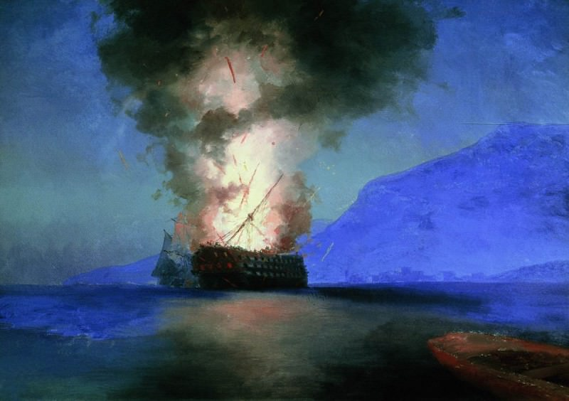 1900 ship explosion 67h96, 5 is the latest picture-unfinished., Ivan Konstantinovich Aivazovsky
