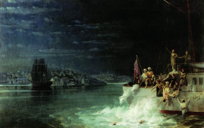 Night. Tragedy in the Sea of Marmara 1897, Ivan Konstantinovich Aivazovsky