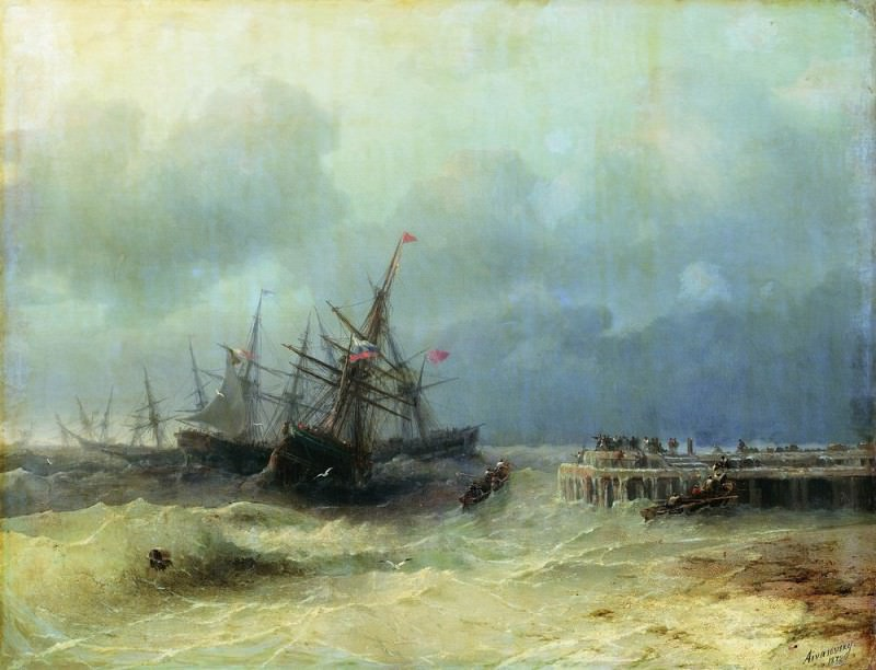 fleeing from the storm in 1872 65h80, Ivan Konstantinovich Aivazovsky