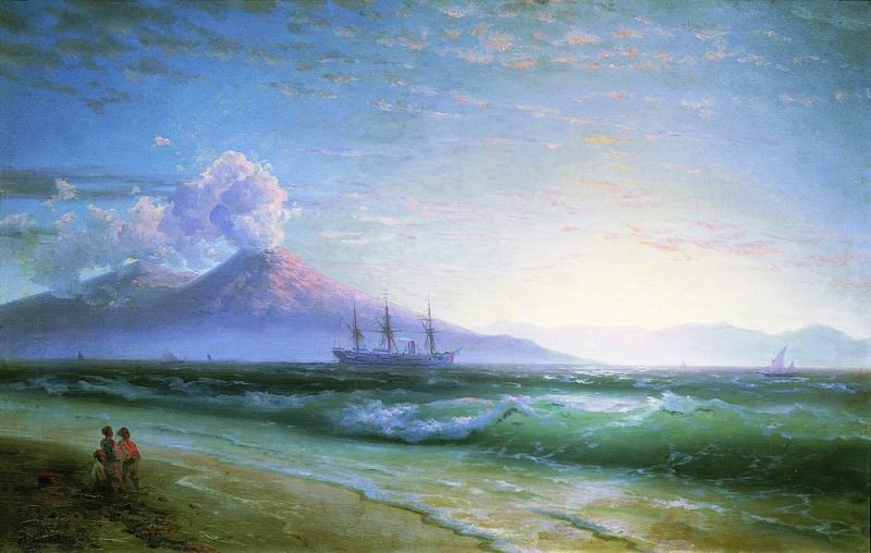 Bay of Naples early in the morning 1897 61h94, Ivan Konstantinovich Aivazovsky