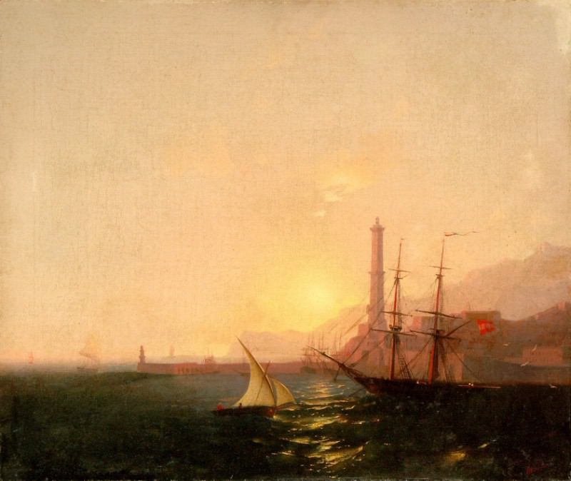 Sunrise in the harbor, Ivan Konstantinovich Aivazovsky