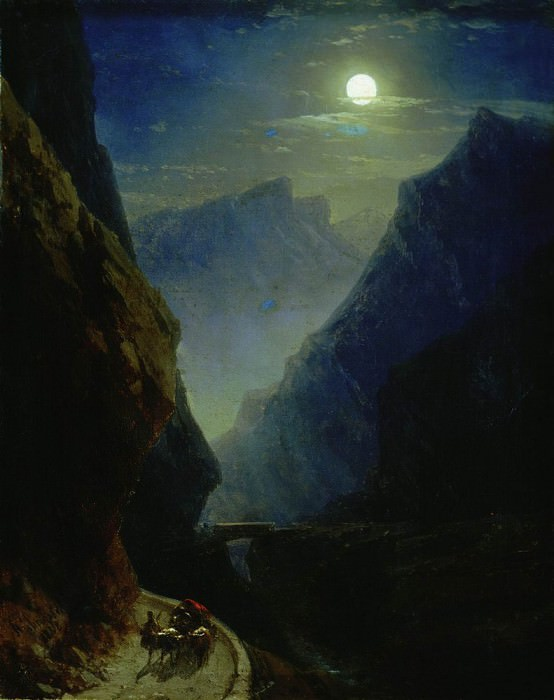 Darial gorge on a moonlit night in 1868 45h36, Ivan Konstantinovich Aivazovsky