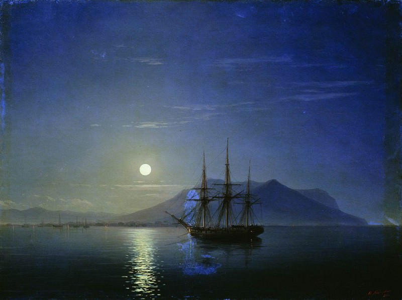 Sailing off the coast of the Crimea in the moonlit night in 1858 47h64, Ivan Konstantinovich Aivazovsky