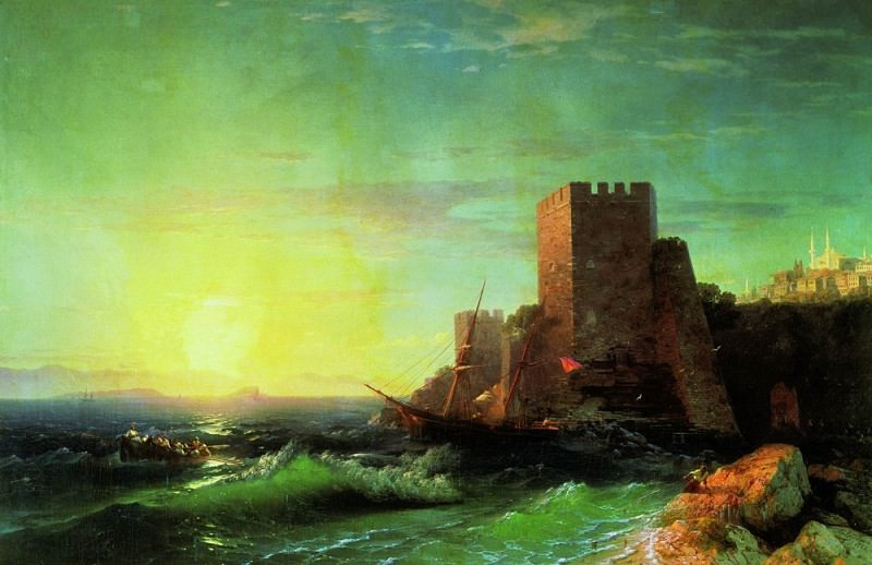 Towers on a rock near the Bosphorus 1859 107h161, Ivan Konstantinovich Aivazovsky