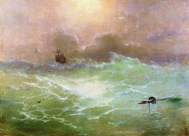 ship in a storm in 1896 79h97, Ivan Konstantinovich Aivazovsky