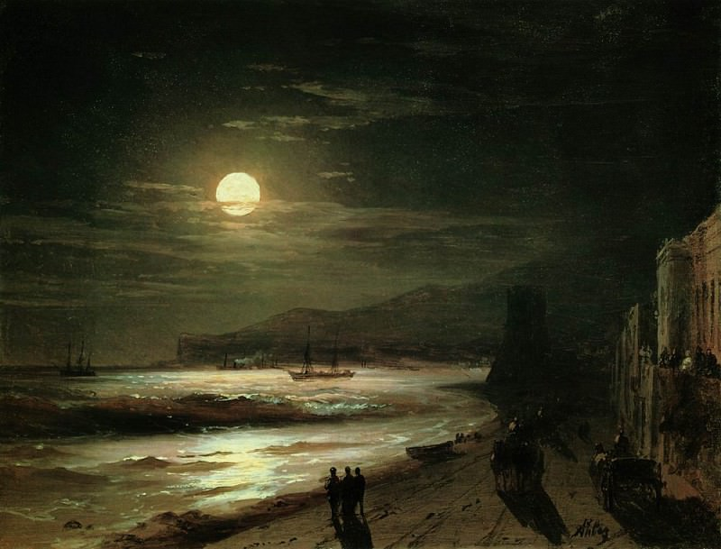 Moonlit Night. Seashore 1885 18h23, 9, Ivan Konstantinovich Aivazovsky