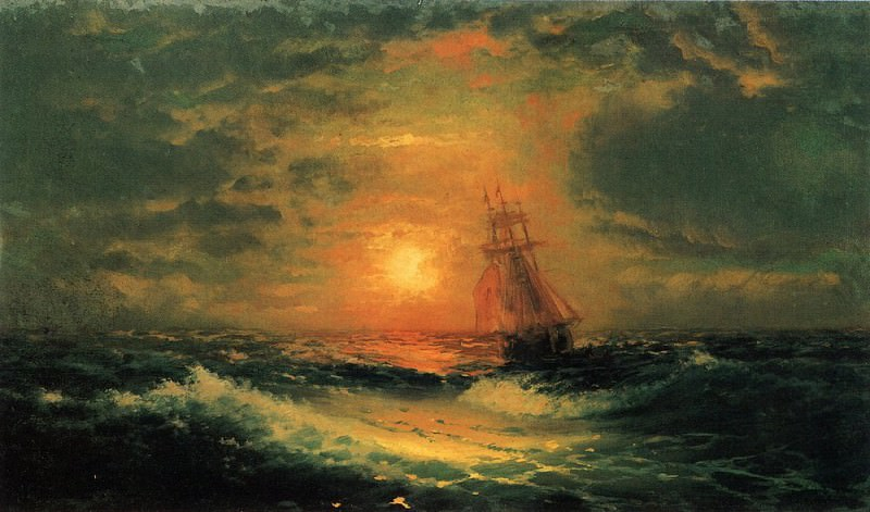 Sunset at Sea 1851 39h67, Ivan Konstantinovich Aivazovsky