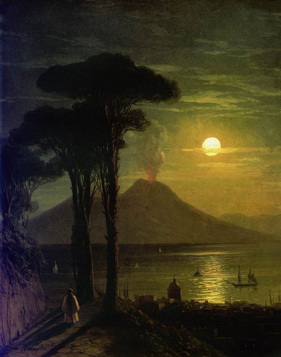 Bay of Naples by Moonlight. Vesuvius 1840 26,8 x20, Ivan Konstantinovich Aivazovsky