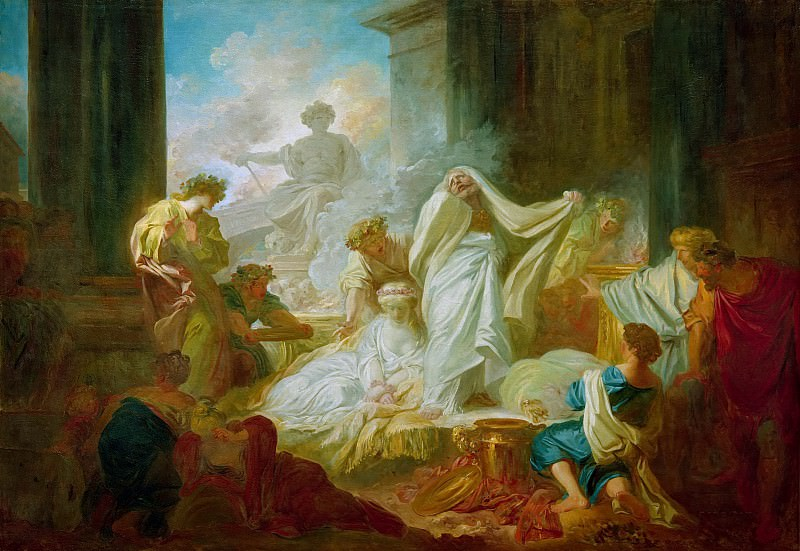 The grand priest Coresus sacrifices himself to save Callirhoe, Jean Honore Fragonard