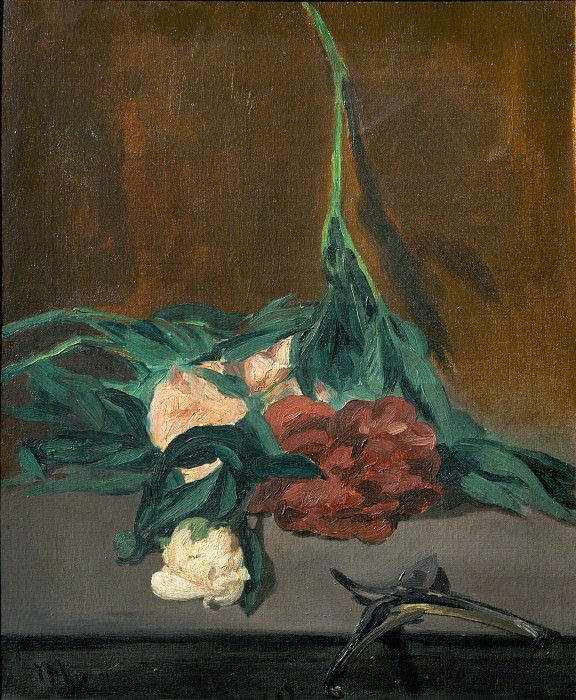 A stems of peonies and garden shears, Édouard Manet