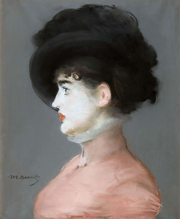 Woman in a black hat portrait of Irma Brunner, Édouard Manet
