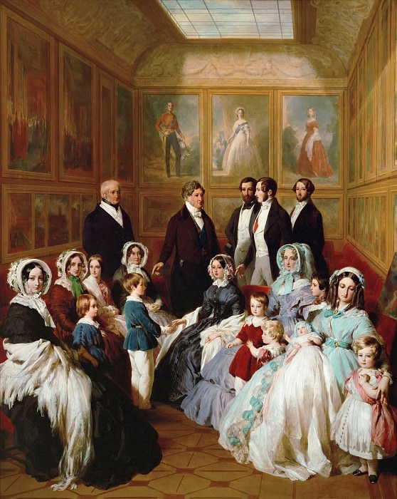 Queen Victoria and Prince Consort Albert as guests of King Louis Philippe of France, in Chateau dEu, 1845, Franz Xavier Winterhalter