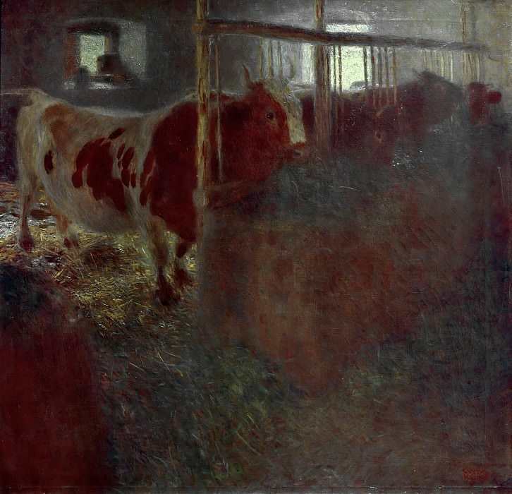 Cows in the stable, Gustav Klimt