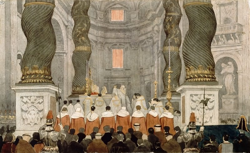 Pontifical Mass at Saint Peters Basilica in Rome, Jean Auguste Dominique Ingres