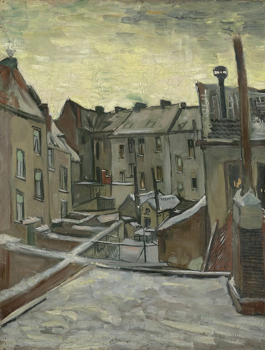 Backyards of Old Houses in Antwerp in the Snow, Vincent van Gogh