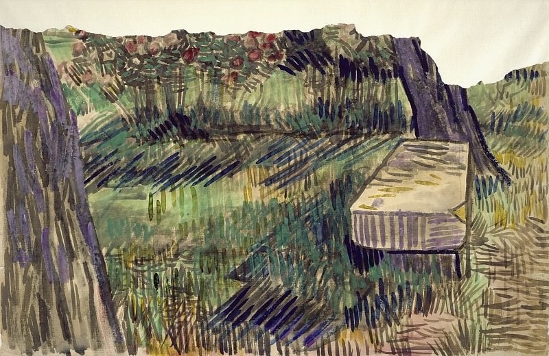 Stone Bench in the Garden of the Asylum, Vincent van Gogh