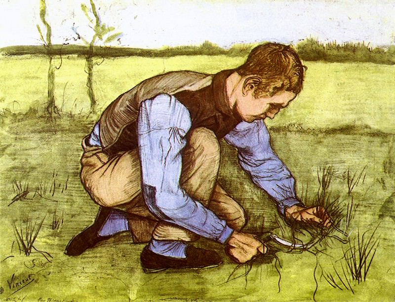 Boy Cutting Grass with a Sickle, Vincent van Gogh