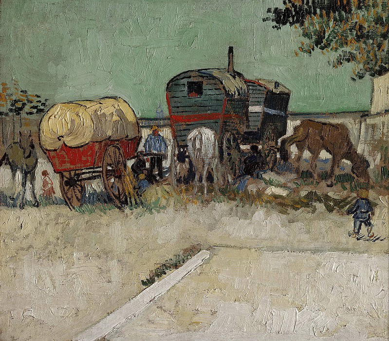 Encampment of Gypsies with Caravans, Vincent van Gogh