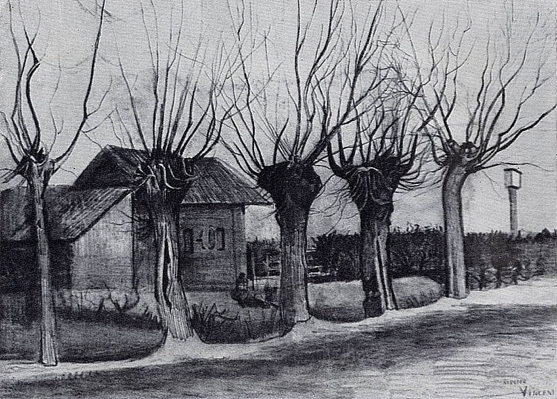 Small House on a Road with Pollard Willows, Vincent van Gogh