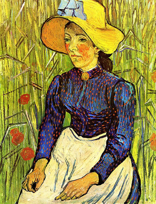Young Peasant Woman with Straw Hat Sitting in the Wheat, Vincent van Gogh