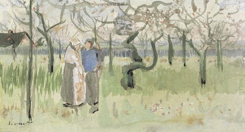 Orchard in Blossom with Two Figures, Vincent van Gogh