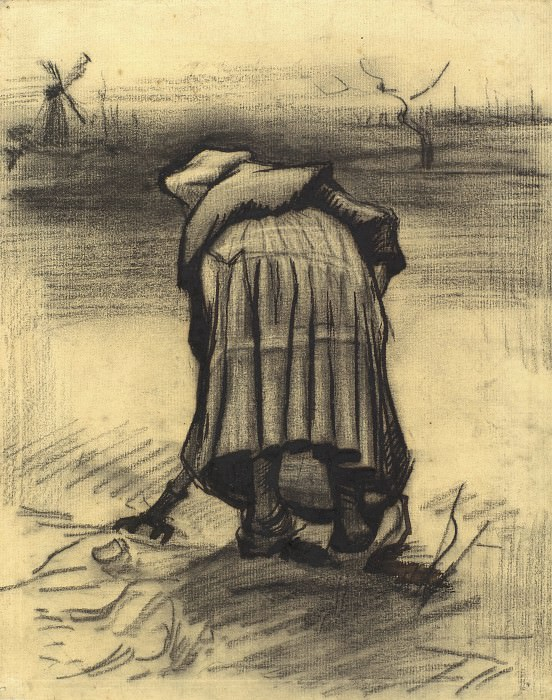 Peasant Woman Lifting Potatoes, Vincent van Gogh