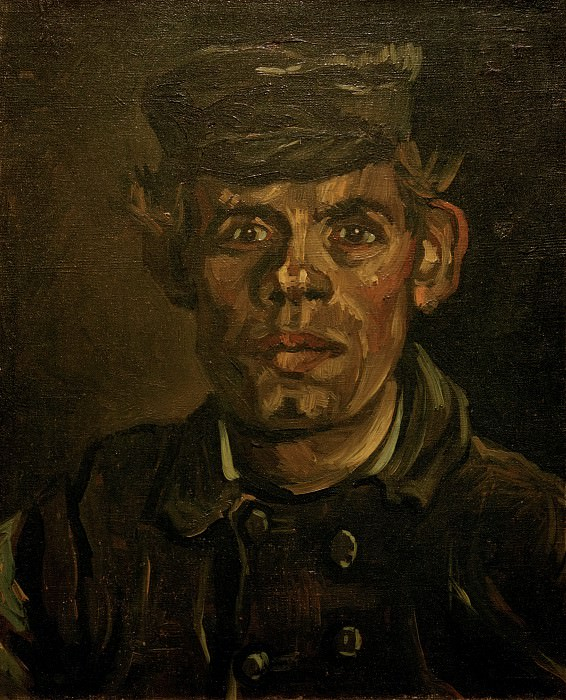 Head of a Young Peasant in a Peaked Cap, Vincent van Gogh