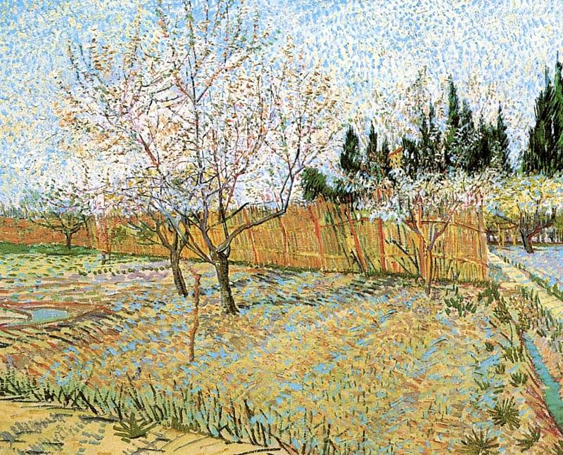 Orchard with Peach Trees in Blossom, Vincent van Gogh