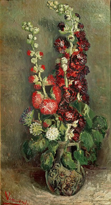Vase with Hollyhocks, Vincent van Gogh