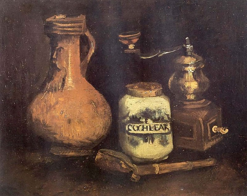 Still Life with Coffee Mill, Pipe and Jug, Vincent van Gogh