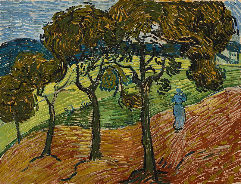Landscape with Trees and Figures, Vincent van Gogh
