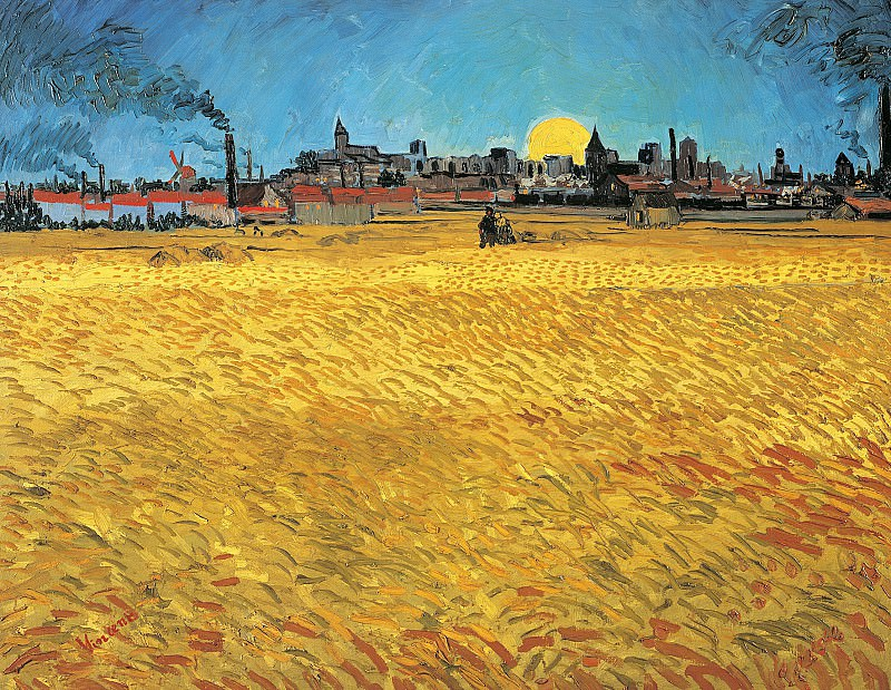 Summer Evening, Wheatfield with Setting sun, Vincent van Gogh