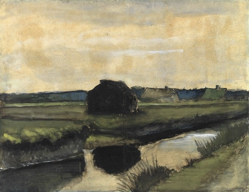 Landscape with a Stack of Peat and Farmhouses, Vincent van Gogh