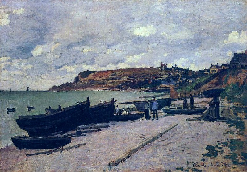 Sainte-Adresse, Fishing Boats on the Shore, Claude Oscar Monet