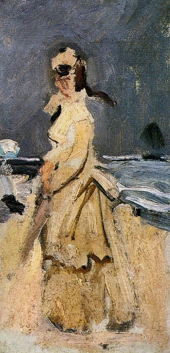 Camille on the Beach, Claude Oscar Monet