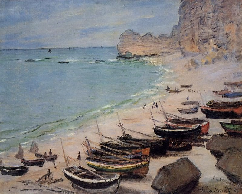 Boats on the Beach at Etretat, Claude Oscar Monet