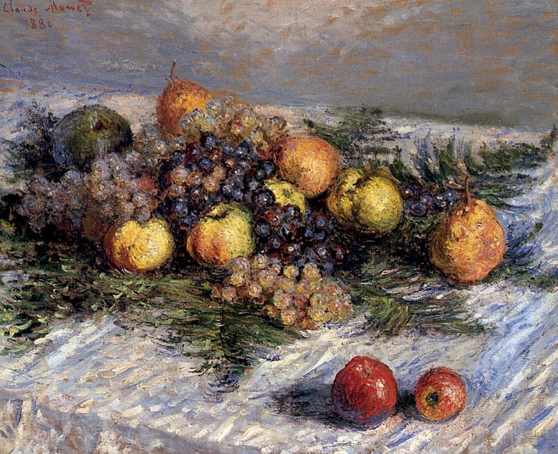 Still Life with Pears and Grapes, Claude Oscar Monet