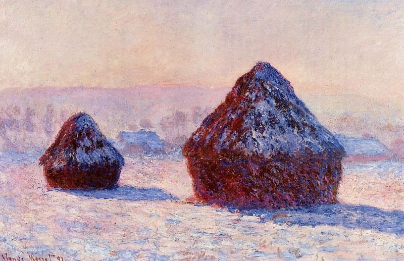 Grainstacks in the Morning, Snow Effect, Claude Oscar Monet