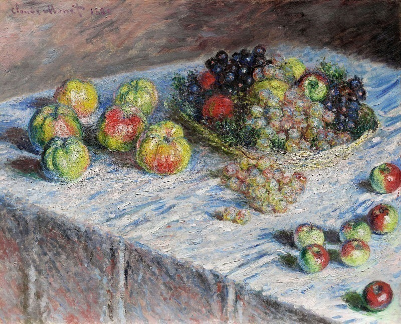 Still Life - Apples and Grapes, Claude Oscar Monet