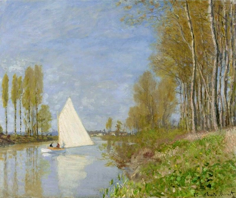 Small Boat on the Small Branch of the Seine at Argenteuil, Claude Oscar Monet